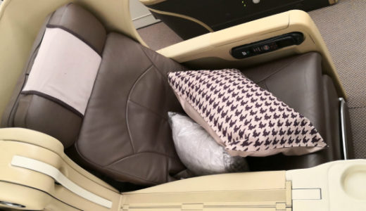 シンガポール航空 福岡行 SQ656 ビジネスクラス搭乗記 ラウンジ・機材・座席・機内食 など