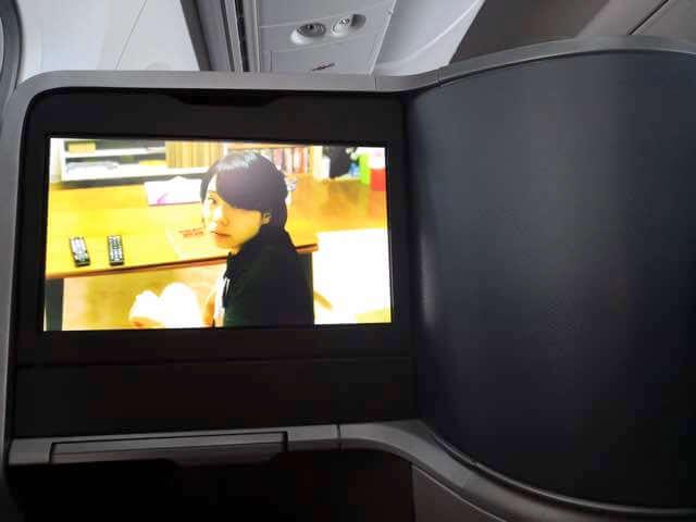 シンガポール航空787-10ビジネスクラスモニター