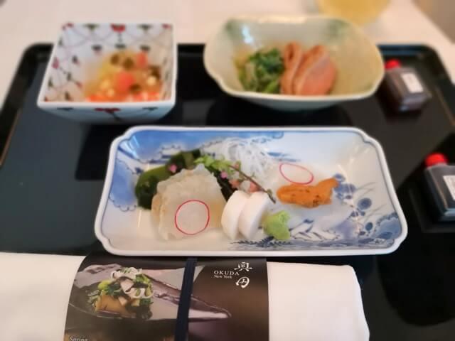 ANAビジネスクラス機内食和食奥田
