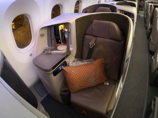 シンガポール航空787-10ビジネスクラスシート1